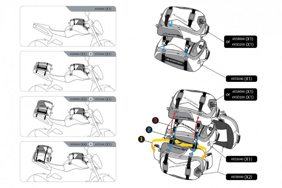 最大の特長は、同じラインの「MODULO TAIL (品番:XSR090)」と連結することができ、シートバッグとしても使用する事も可能です。