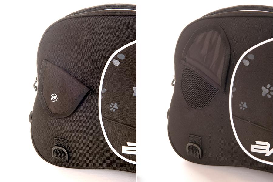 バッグの左右には、開閉可能な通気用のダクトがあります。